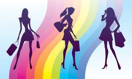 Shopping girls on fashion rainbow. Vector illustration Royalty Free Stock Image