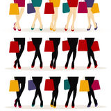 Shopping girls or Female legs with colorful shoes Stock Photos