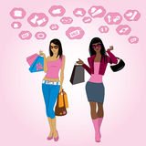 Shopping girls and icons, vector. Shopping girls and icons, vector Royalty Free Stock Images