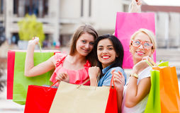 Shopping With Girls Royalty Free Stock Photos