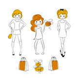 Shopping girls with sale bags. Editable vector set Royalty Free Stock Photo