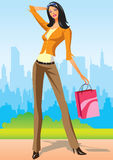 Shopping girls with shopping bag in New York. Fashion shopping girls with shopping bag in New York -  illustration Stock Image
