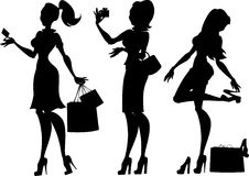 Shopping girls silhouette Stock Photography