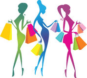 Shopping girls silhouettes. Colourful shopping girls silhouettes. Gradient fill Stock Photo