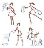 Shopping girls sketches. Sketch styled illustration of shopping girls Stock Photo