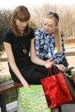 Shopping girls talking Royalty Free Stock Photo
