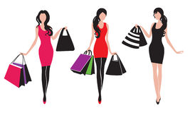Shopping girls. Three shopping girls silhouettes in vector Royalty Free Stock Image