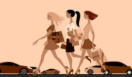 Shopping girls walking down the street with cars. Urban life concept vector illustration in flat style in monochrome colors. There is in addition a vector Stock Photography