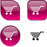 Shopping glossy button. Stock Photography