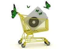 Shopping gold trolley, street conditioner and green butterflyes Royalty Free Stock Photo