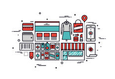 Shopping goods line style illustration Royalty Free Stock Image