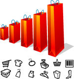 Shopping Graph Paper Bags Stock Image