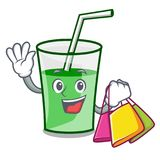 Shopping green smoothie character cartoon. Vector illustration royalty free illustration