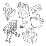 Shopping groceries objects set stock illustration