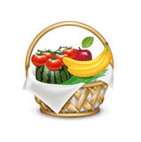 Shopping/grocery rustic basket with fruits isolated on white Stock Photography