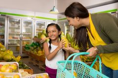 Shopping at the grocery store Stock Photos