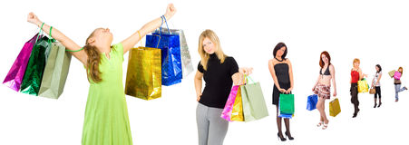 Shopping group of people with colorful bags Stock Photos