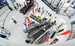 Shopping hall. Crowd in motion blur Royalty Free Stock Images