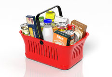 Shopping hand basket full with products Royalty Free Stock Photography