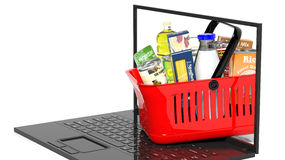Shopping hand basket full with products Stock Photos