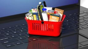 Shopping hand basket full Royalty Free Stock Images
