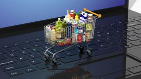Shopping hand basket full Royalty Free Stock Image