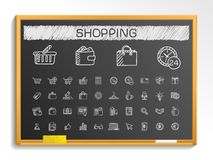 Shopping hand drawing line icons. chalk sketch sign illustration on blackboard Stock Images