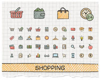 Shopping hand drawing line icons. Stock Photo