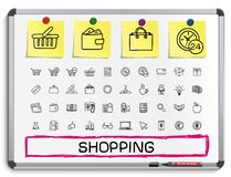 Shopping hand drawing line icons Royalty Free Stock Photography