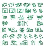 Shopping hand drawn icons. Set of 36 Shopping hand drawn green icons drawn with a felt-tip pen Stock Photos