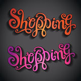 Shopping hand lettering Royalty Free Stock Image