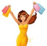 Shopping happines. Beautiful and happy female shopper stock illustration