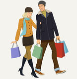 Shopping. Happy couple with shopping - illustration Royalty Free Stock Images