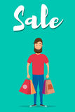 Shopping-06. Happy man with shopping. Happy man holding shopping bags. Vector illustration in flat style Stock Images