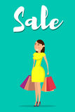 Shopping-07. Happy woman with shopping. Happy woman holding shopping bags. Vector illustration in flat style stock illustration