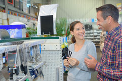 Shopping in hardware store Stock Images