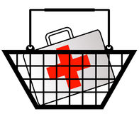 Shopping for health care. Shopping basket with first aid kit or medicine in cart Royalty Free Stock Photos