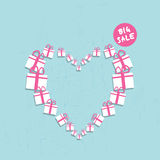 Shopping heart big sale concept Stock Image