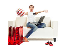 Shopping at home Royalty Free Stock Photos