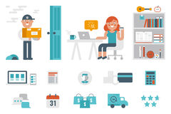 Shopping at home. Online shopping at home infographic concept with icons and elements Stock Image