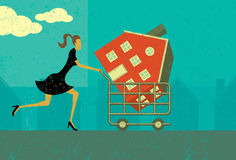 Shopping for a Home. A woman walking with a new house in her shopping cart. The woman, shopping cart, and home are on a separate labeled layer from the Stock Photos