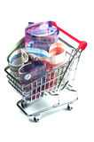 Shopping in HongKong. A shopping cart filled with HongKong dollars royalty free stock photo