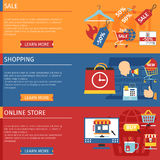 Shopping Horizontal Banners Set Stock Photo