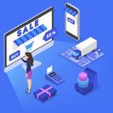 Shopping i internet och att göra digital pengarbetalning vektor illustrationer