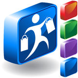 Shopping Icon 3D. Set of 3D buttons showing person shopping Royalty Free Stock Photography