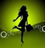Shopping icon illustration. Shopping icon woman silhouette illustration Royalty Free Stock Photography