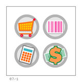 SHOPPING: Icon Set 07 - Version 1. 4 colored icons in a circle shaped buttons about shopping. Please check the complete set and other versions Royalty Free Stock Image