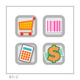 SHOPPING: Icon Set 07 - Version 2. 4 colored icons in a square shaped buttons about shopping. Please check the complete set and other versions Royalty Free Stock Images