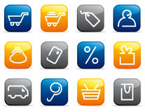 Shopping icon set Stock Photos