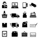 Shopping icon set. In black Royalty Free Stock Photo